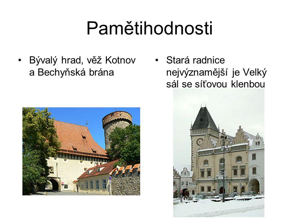 Pamětihodnosti Bývalý hrad, věž Kotnov a Bechyňská brána