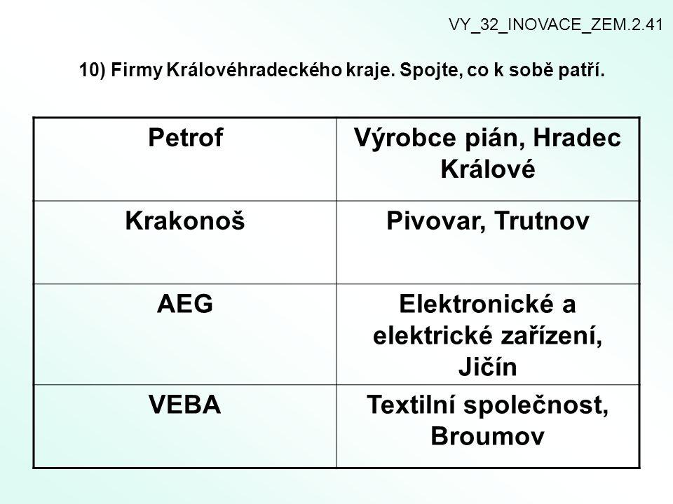 10) Firmy Královéhradeckého kraje. Spojte, co k sobě patří.