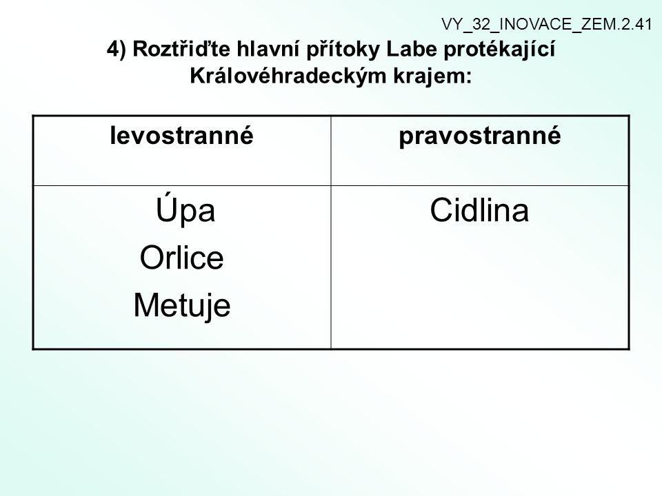 4) Roztřiďte hlavní přítoky Labe protékající Královéhradeckým krajem: