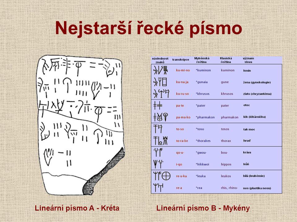 Nejstarší řecké písmo Lineární písmo A - Kréta