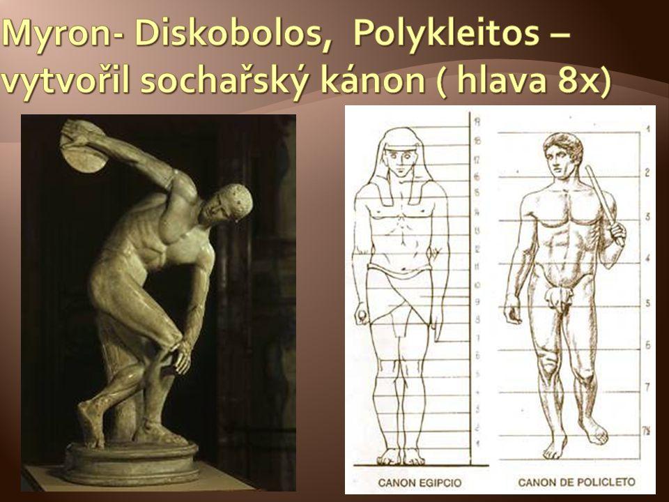 Myron- Diskobolos, Polykleitos – vytvořil sochařský kánon ( hlava 8x)