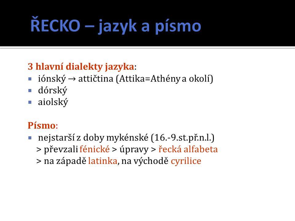 ŘECKO – jazyk a písmo 3 hlavní dialekty jazyka: