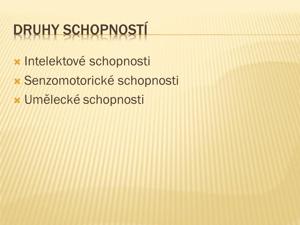 Druhy schopností Intelektové schopnosti Senzomotorické schopnosti