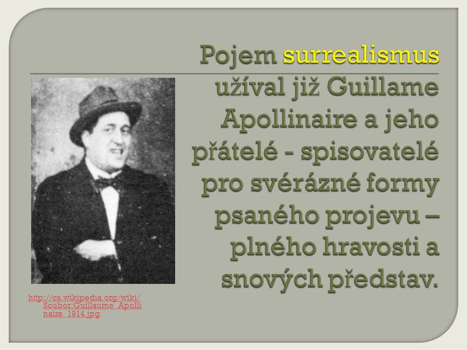 Pojem surrealismus užíval již Guillame Apollinaire a jeho přátelé - spisovatelé pro svérázné formy psaného projevu – plného hravosti a snových představ.