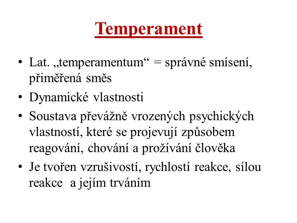 """Temperament Lat. """"temperamentum = správné smísení, přiměřená směs"""