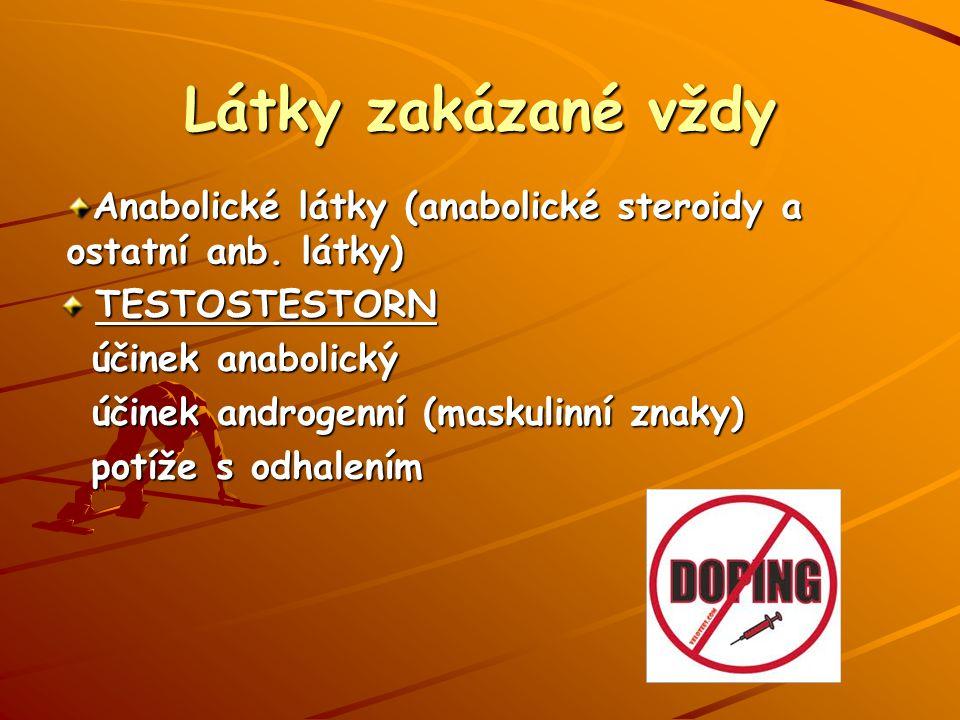 Látky zakázané vždy Anabolické látky (anabolické steroidy a ostatní anb. látky) TESTOSTESTORN. účinek anabolický.