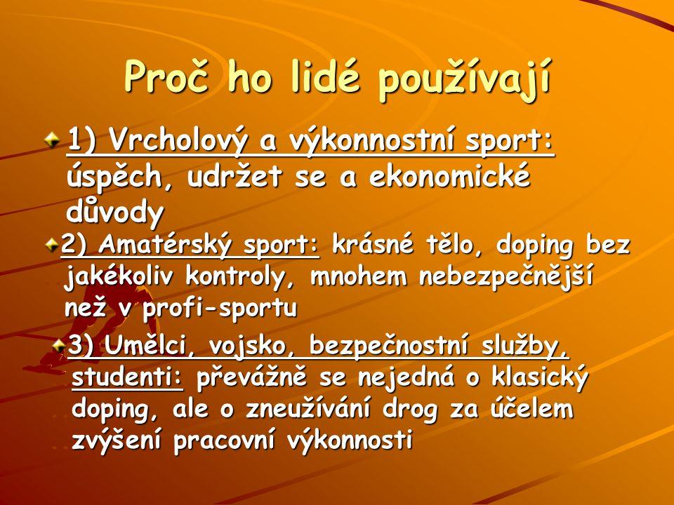Proč ho lidé používají 1) Vrcholový a výkonnostní sport: úspěch, udržet se a ekonomické důvody.