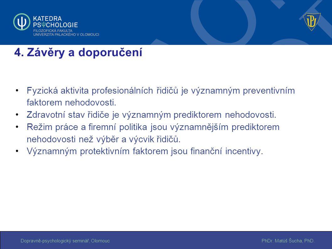 4. Závěry a doporučení Fyzická aktivita profesionálních řidičů je významným preventivním faktorem nehodovosti.