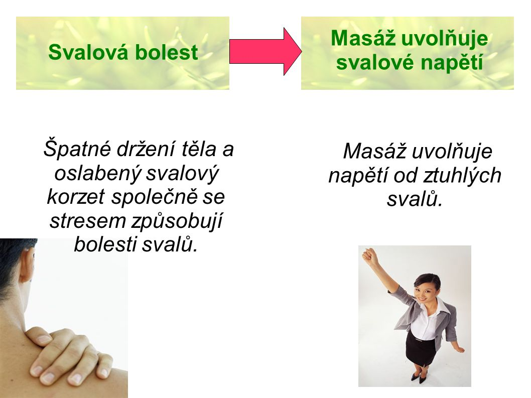 Masáž uvolňuje napětí od ztuhlých svalů.