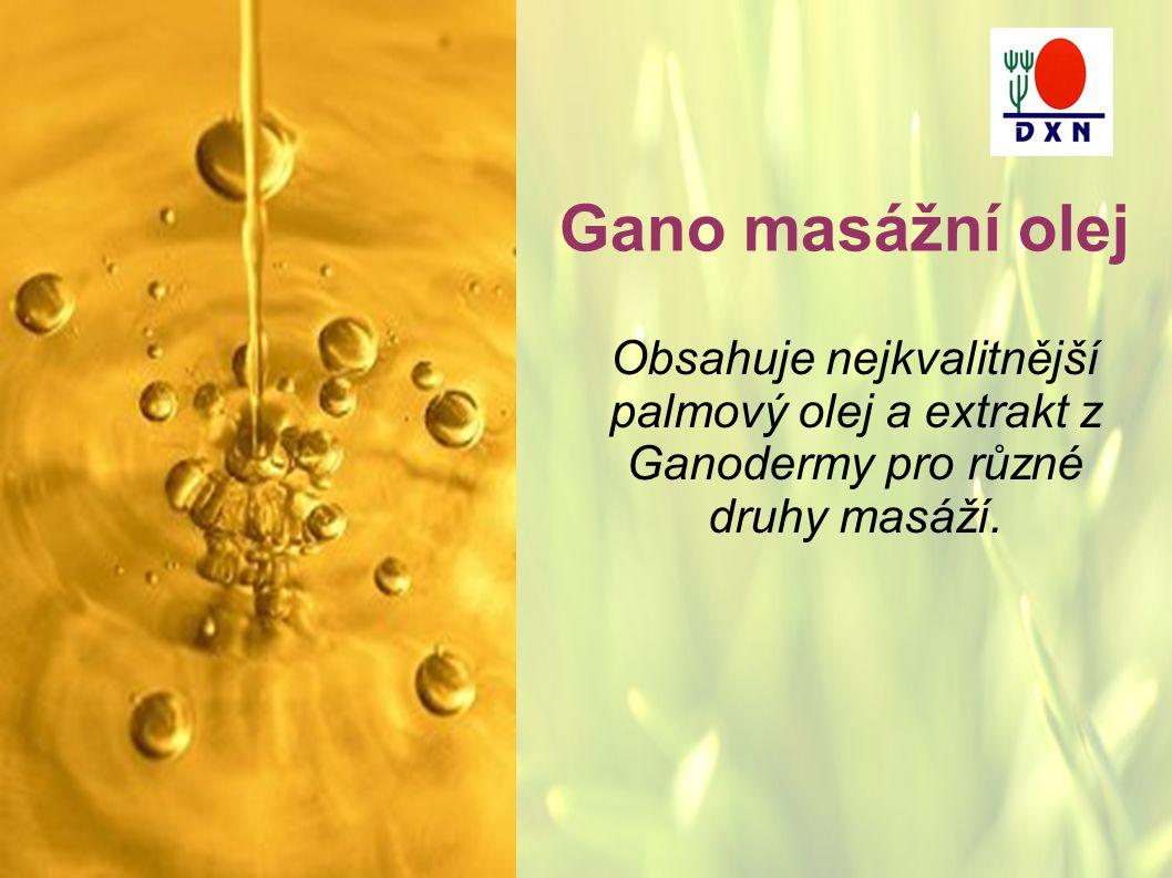 Gano masážní olej Obsahuje nejkvalitnější palmový olej a extrakt z Ganodermy pro různé druhy masáží.