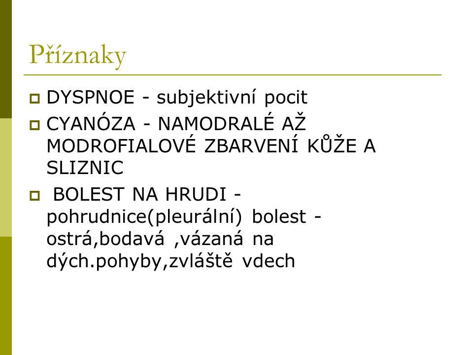 Příznaky DYSPNOE - subjektivní pocit