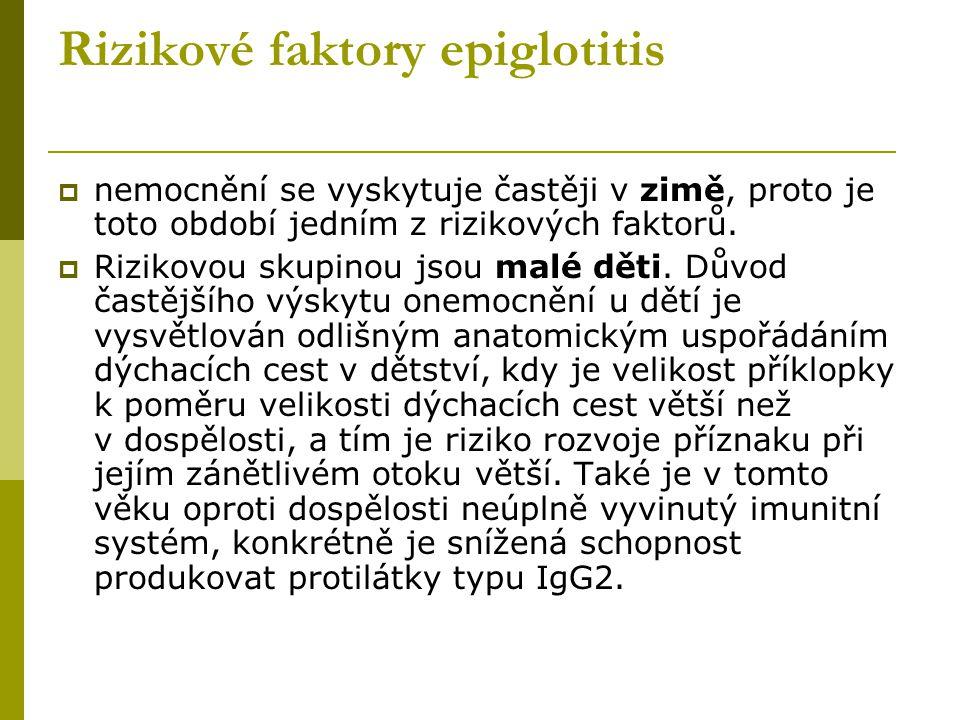 Rizikové faktory epiglotitis
