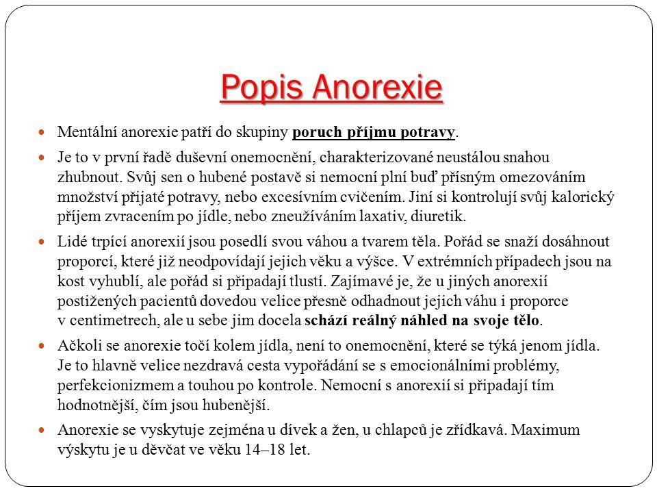 Popis Anorexie Mentální anorexie patří do skupiny poruch příjmu potravy.