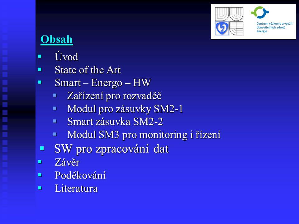 SW pro zpracování dat Obsah Úvod State of the Art Smart – Energo – HW