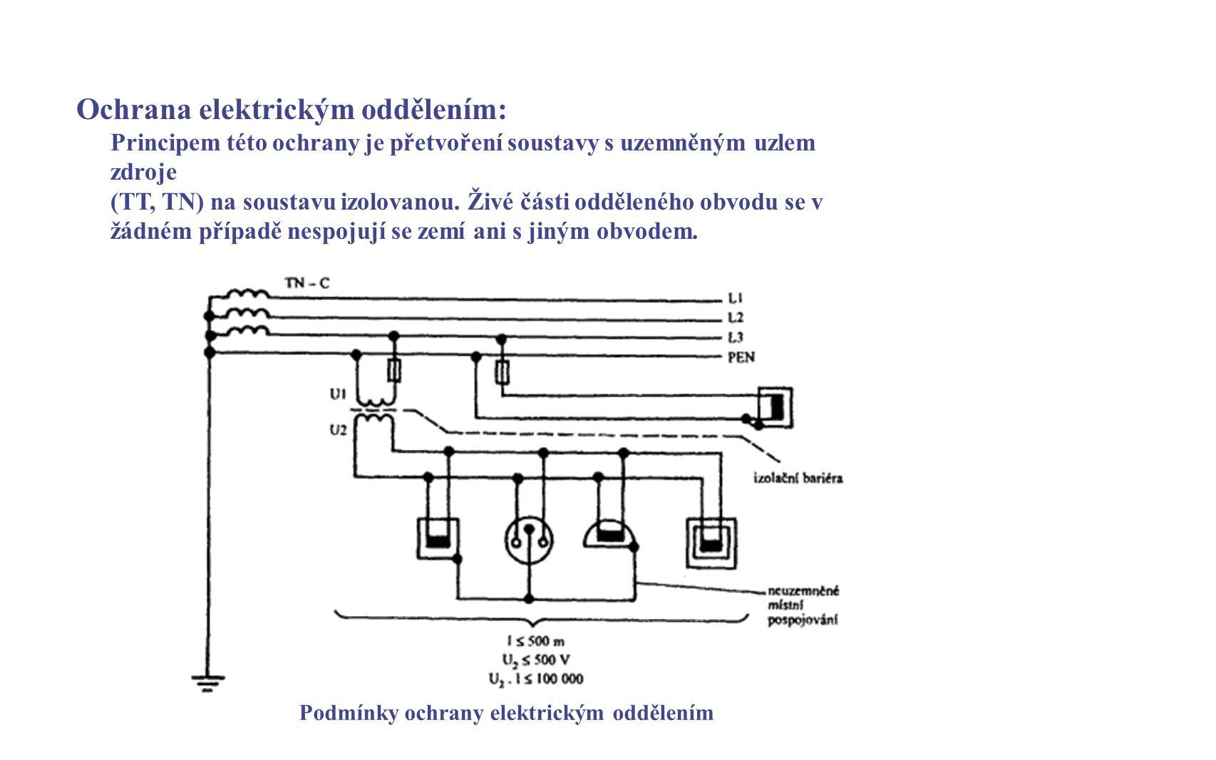 Podmínky ochrany elektrickým oddělením