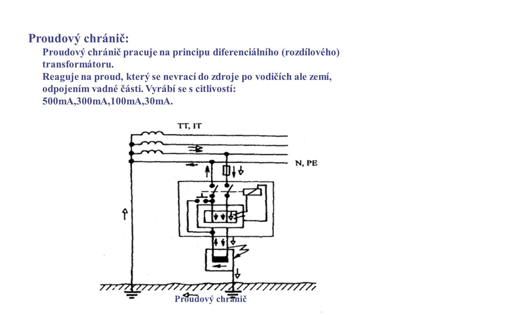 Proudový chránič: Proudový chránič pracuje na principu diferenciálního (rozdílového) transformátoru.