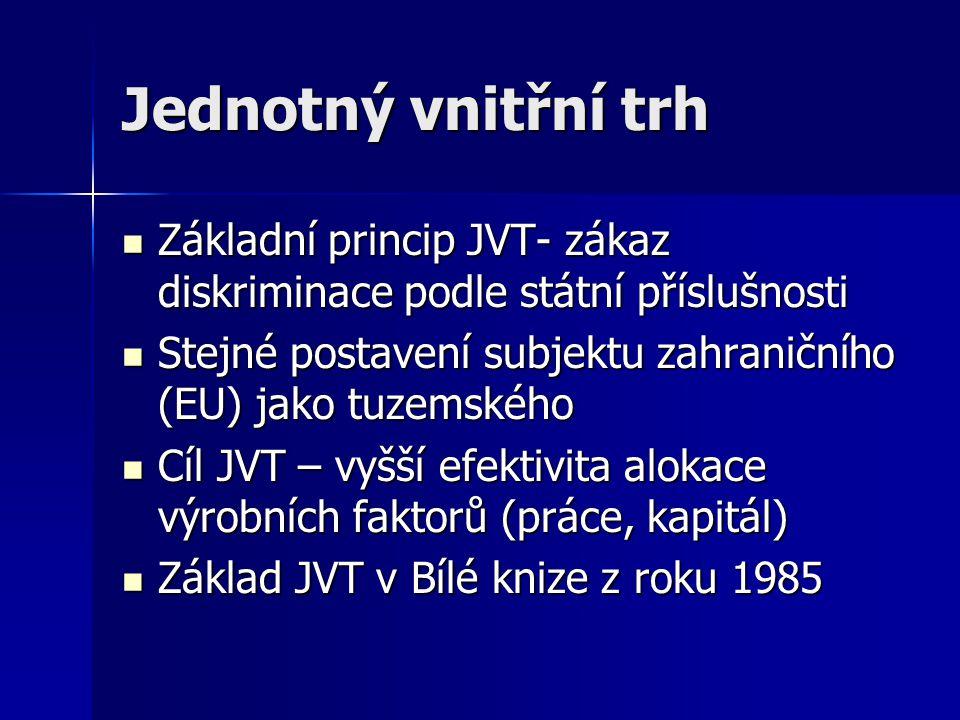 Jednotný vnitřní trh Základní princip JVT- zákaz diskriminace podle státní příslušnosti. Stejné postavení subjektu zahraničního (EU) jako tuzemského.