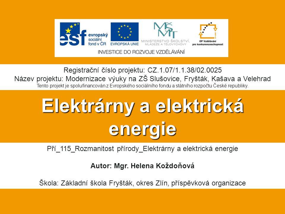 Elektrárny a elektrická energie