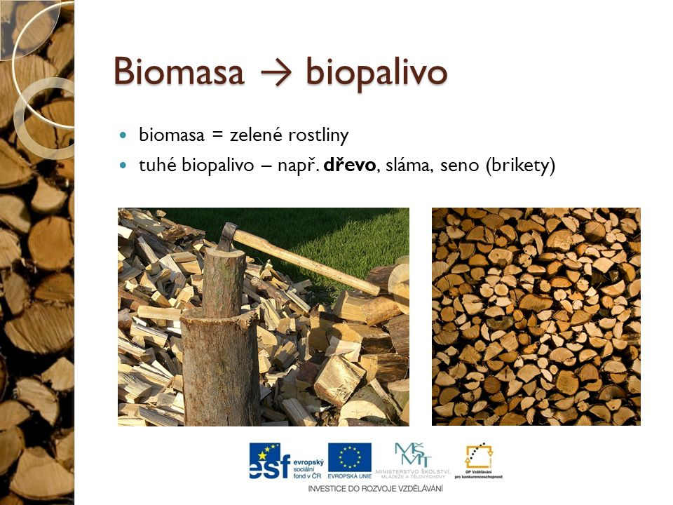 Biomasa → biopalivo biomasa = zelené rostliny