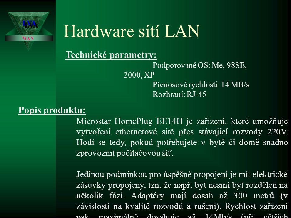 Hardware sítí LAN Technické parametry: Popis produktu: