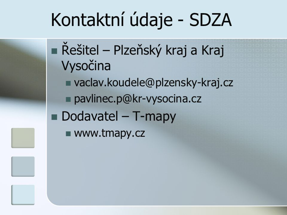 Kontaktní údaje - SDZA Řešitel – Plzeňský kraj a Kraj Vysočina