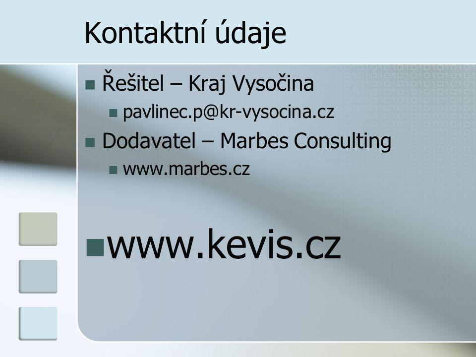 www.kevis.cz Kontaktní údaje Řešitel – Kraj Vysočina