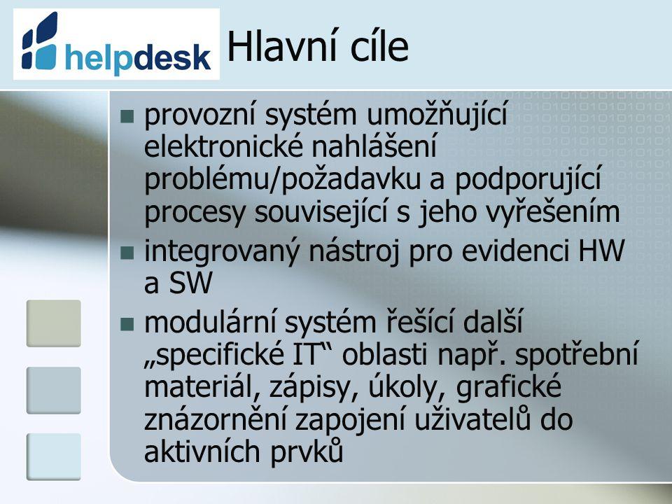 Hlavní cíle provozní systém umožňující elektronické nahlášení problému/požadavku a podporující procesy související s jeho vyřešením.