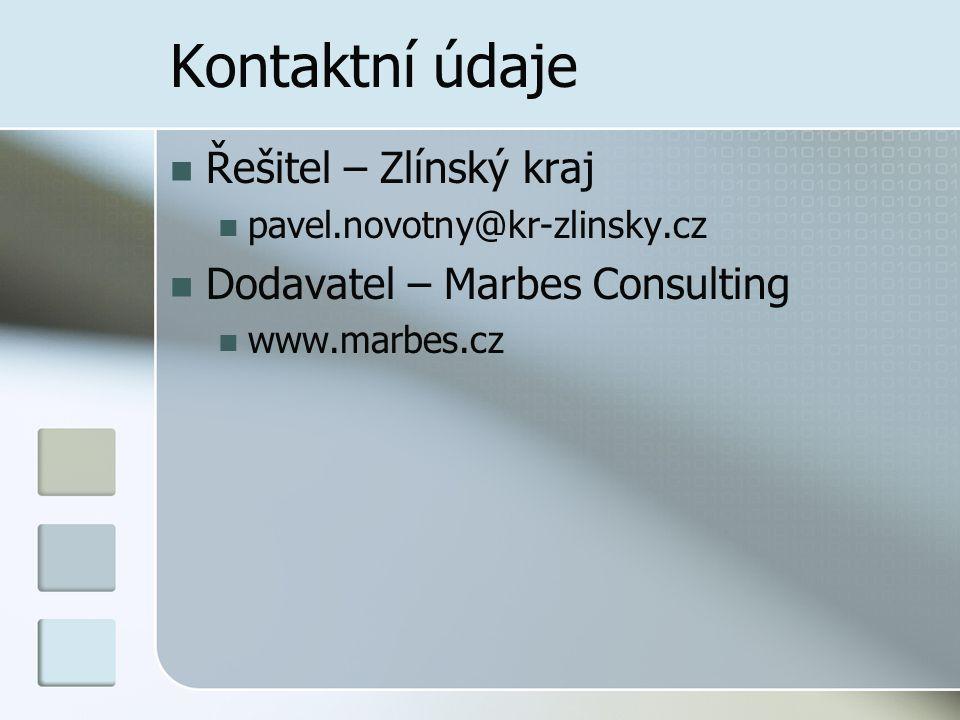 Kontaktní údaje Řešitel – Zlínský kraj Dodavatel – Marbes Consulting