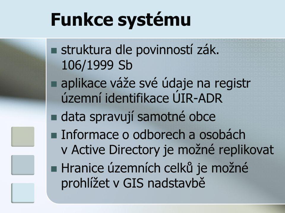 Funkce systému struktura dle povinností zák. 106/1999 Sb