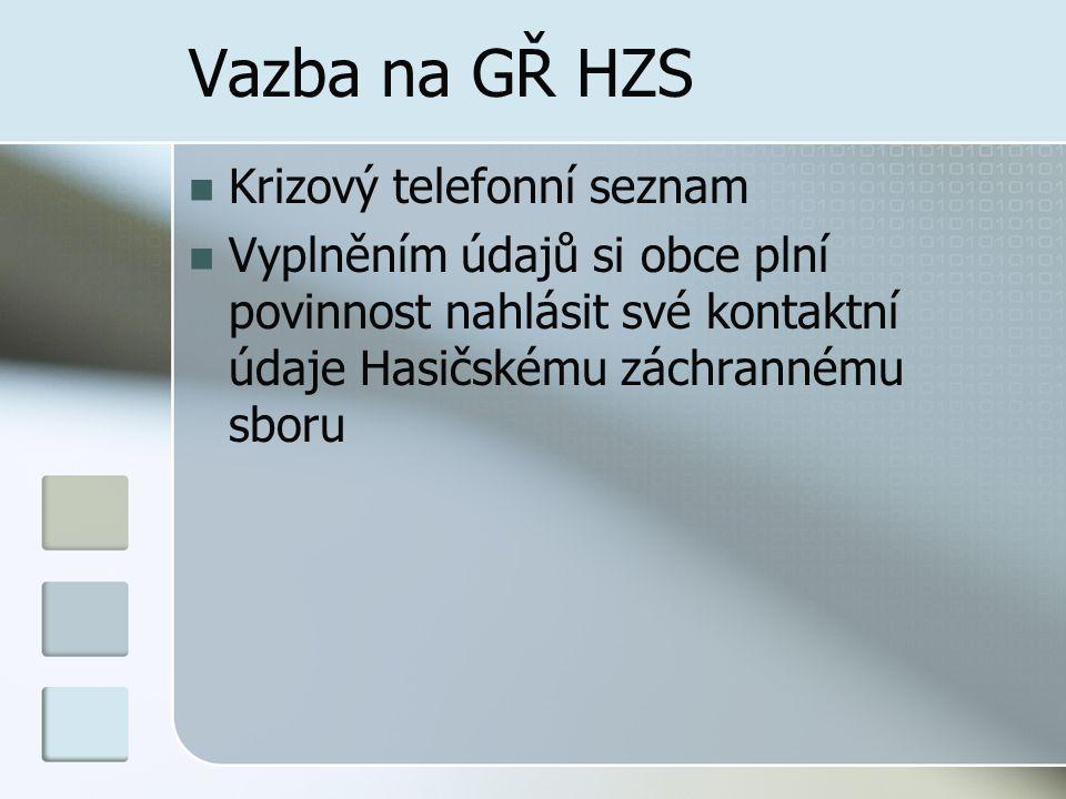 Vazba na GŘ HZS Krizový telefonní seznam
