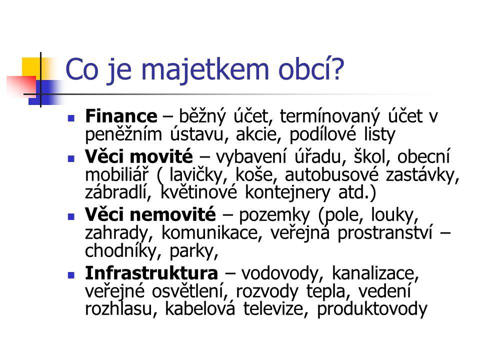 Co je majetkem obcí Finance – běžný účet, termínovaný účet v peněžním ústavu, akcie, podílové listy.