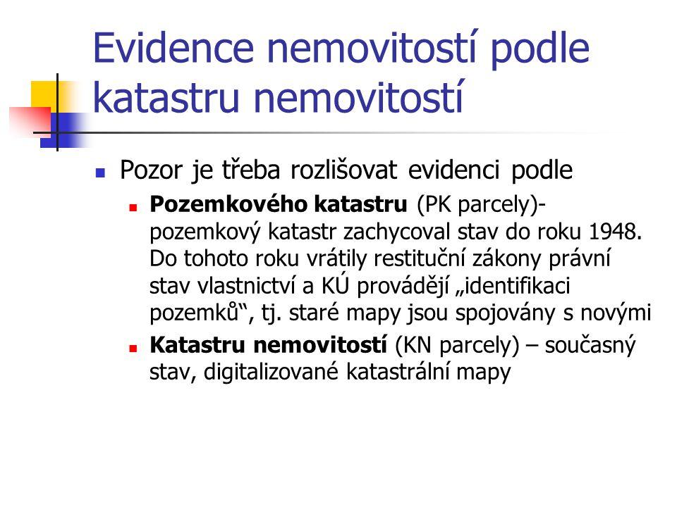 Evidence nemovitostí podle katastru nemovitostí