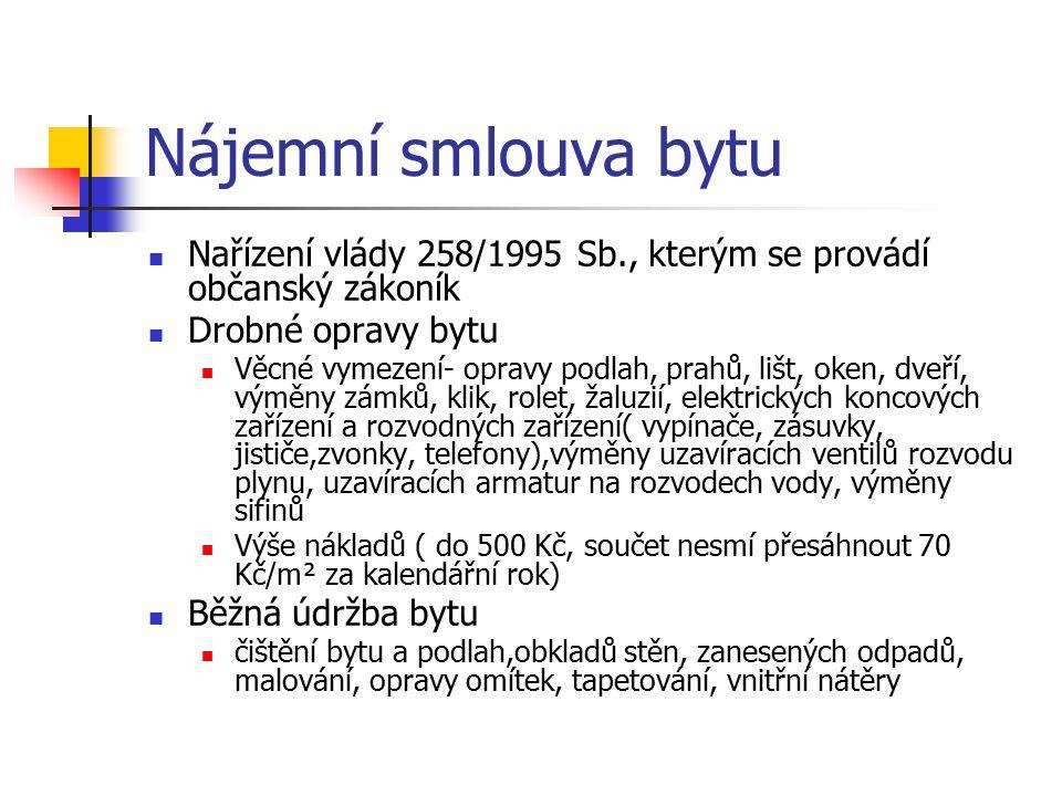 Nájemní smlouva bytu Nařízení vlády 258/1995 Sb., kterým se provádí občanský zákoník. Drobné opravy bytu.