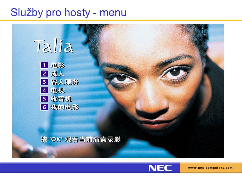 Služby pro hosty - menu