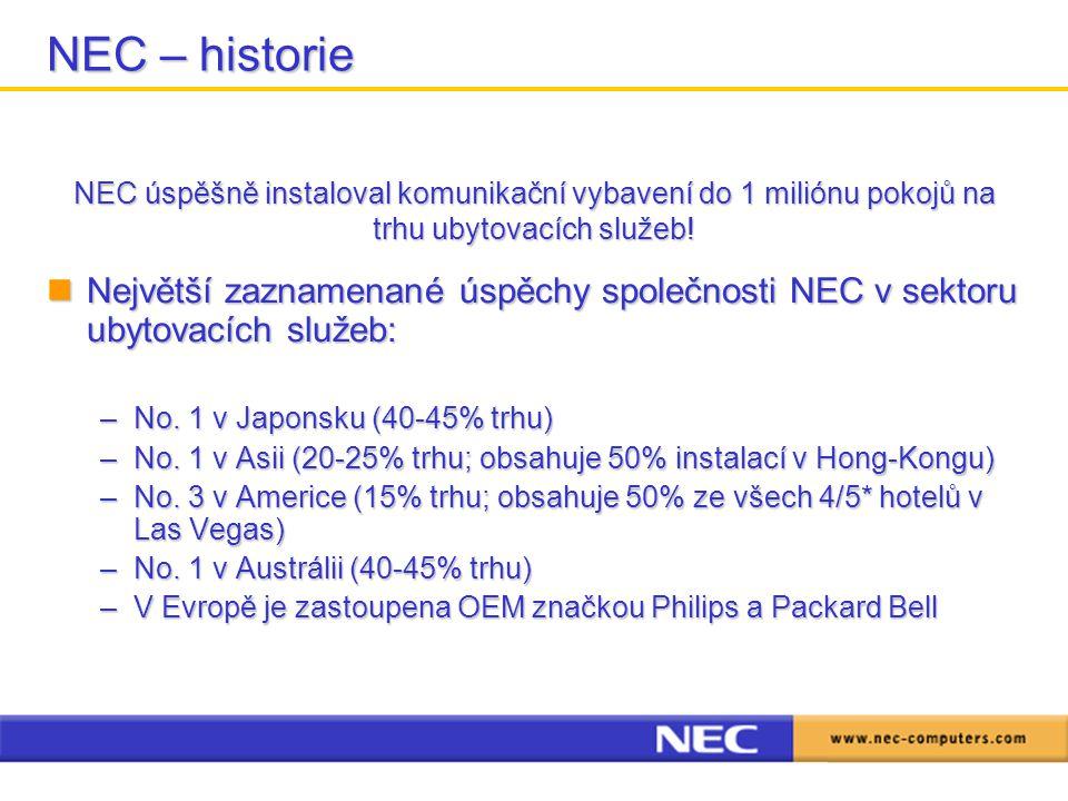 NEC – historie NEC úspěšně instaloval komunikační vybavení do 1 miliónu pokojů na trhu ubytovacích služeb!
