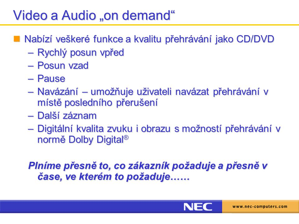 "Video a Audio ""on demand"
