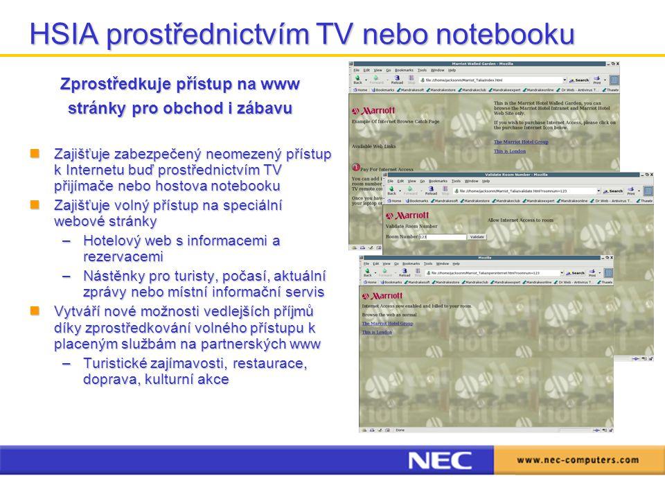 HSIA prostřednictvím TV nebo notebooku