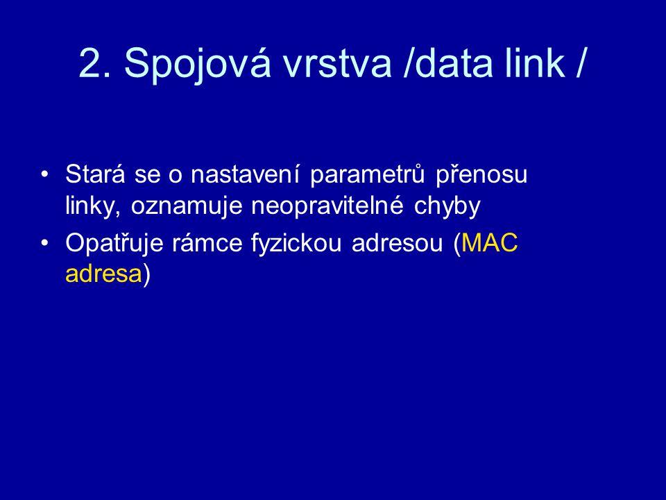 2. Spojová vrstva /data link /