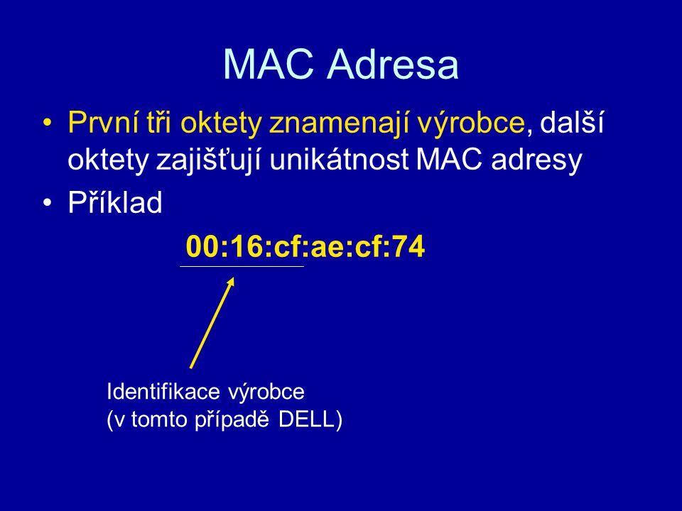 MAC Adresa První tři oktety znamenají výrobce, další oktety zajišťují unikátnost MAC adresy. Příklad.
