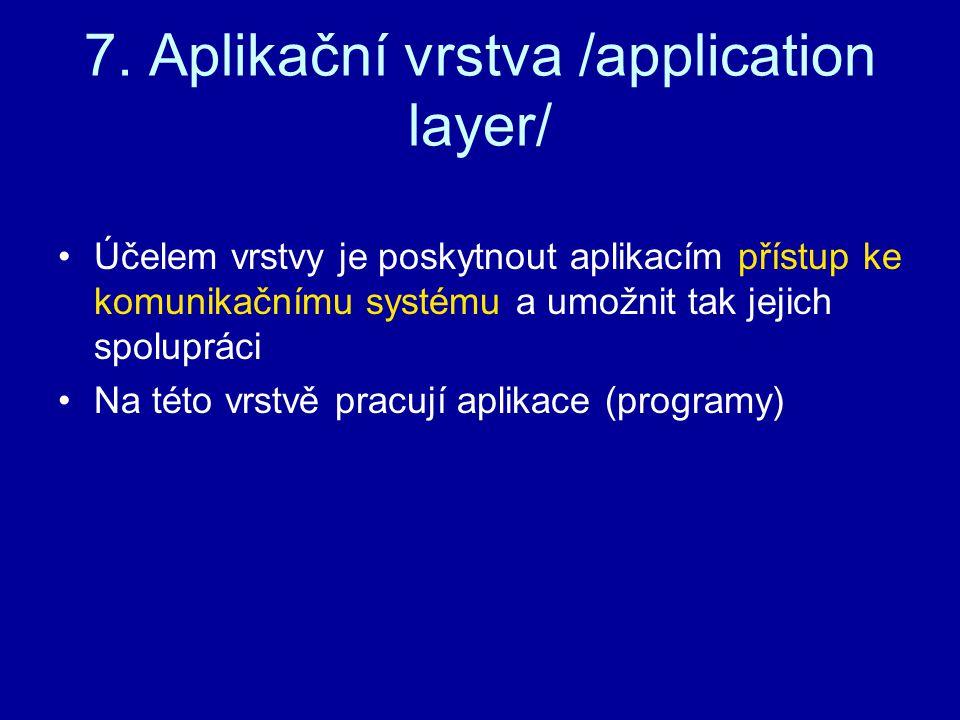 7. Aplikační vrstva /application layer/