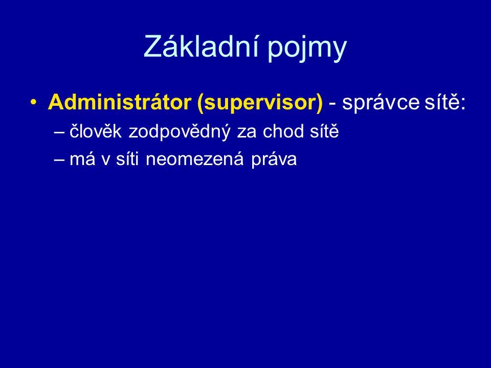 Základní pojmy Administrátor (supervisor) - správce sítě: