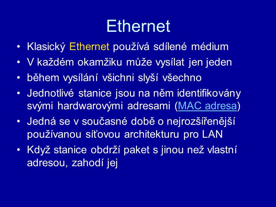 Ethernet Klasický Ethernet používá sdílené médium