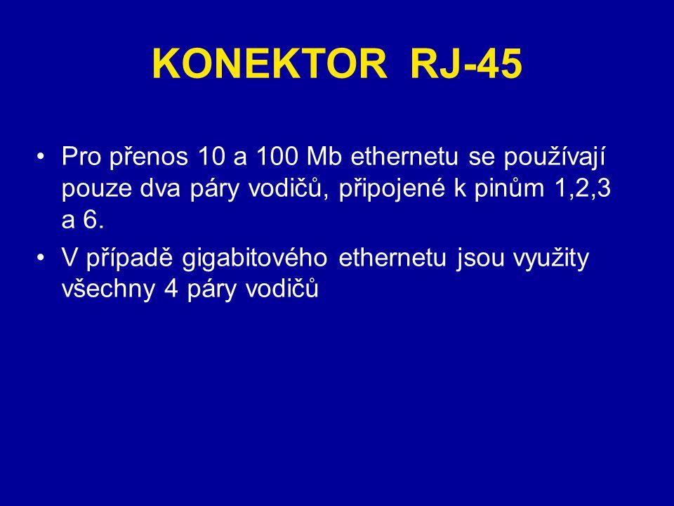 KONEKTOR RJ-45 Pro přenos 10 a 100 Mb ethernetu se používají pouze dva páry vodičů, připojené k pinům 1,2,3 a 6.
