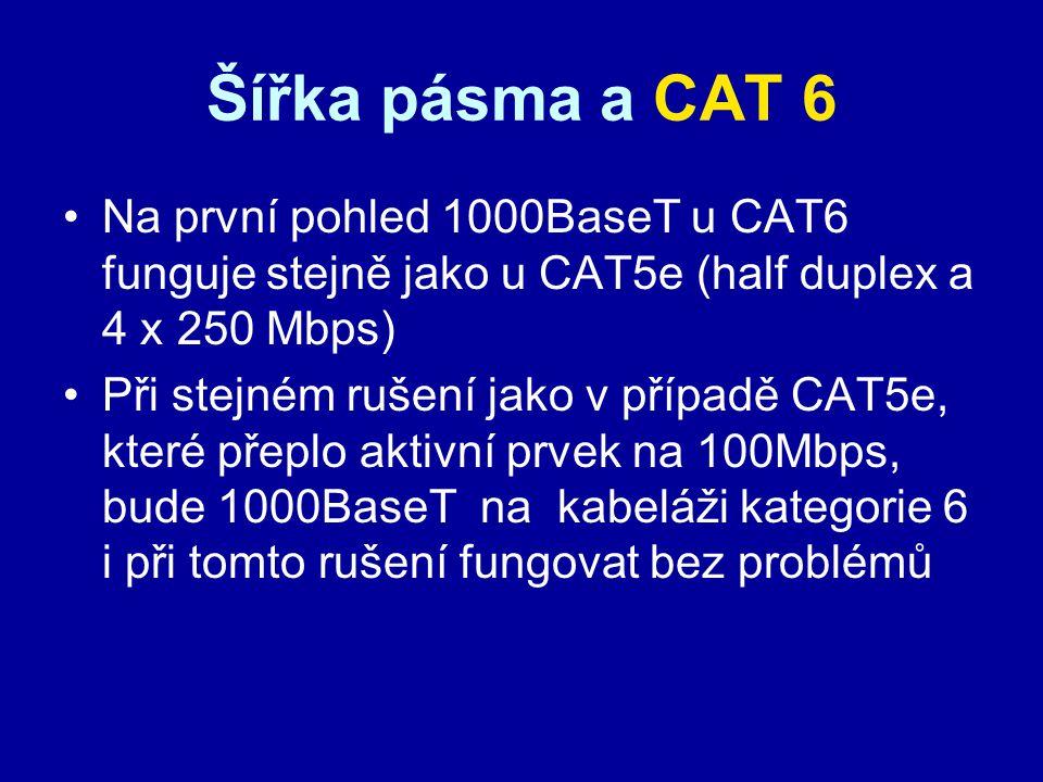 Šířka pásma a CAT 6 Na první pohled 1000BaseT u CAT6 funguje stejně jako u CAT5e (half duplex a 4 x 250 Mbps)