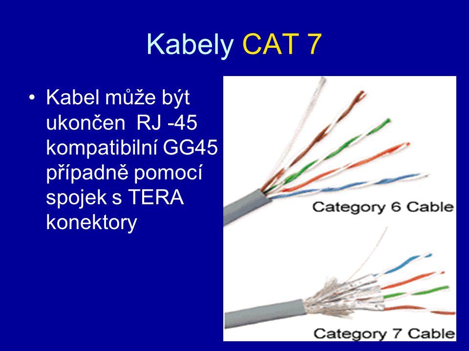 Kabely CAT 7 Kabel může být ukončen RJ -45 kompatibilní GG45 případně pomocí spojek s TERA konektory.