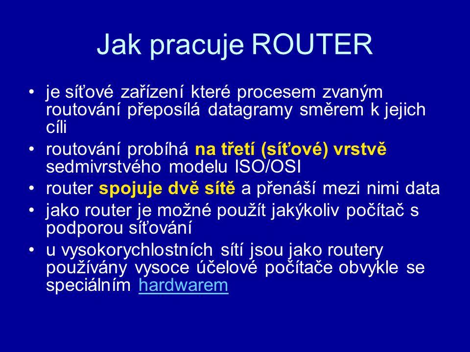 Jak pracuje ROUTER je síťové zařízení které procesem zvaným routování přeposílá datagramy směrem k jejich cíli.