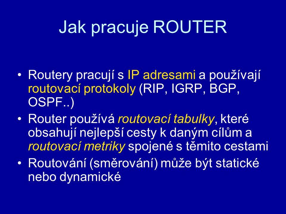 Jak pracuje ROUTER Routery pracují s IP adresami a používají routovací protokoly (RIP, IGRP, BGP, OSPF..)