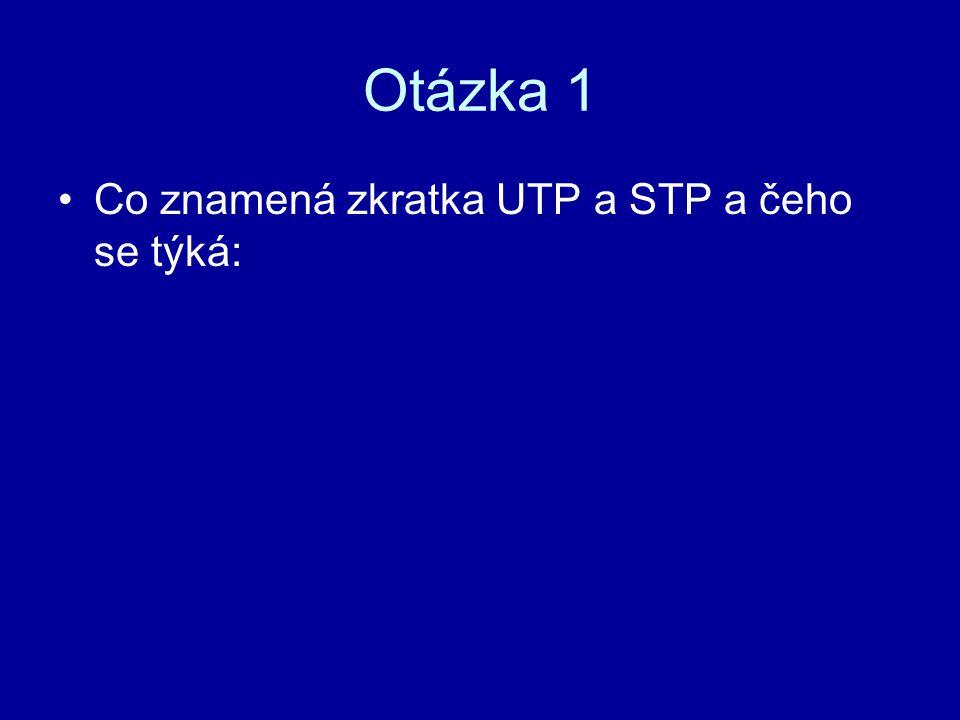 Otázka 1 Co znamená zkratka UTP a STP a čeho se týká: