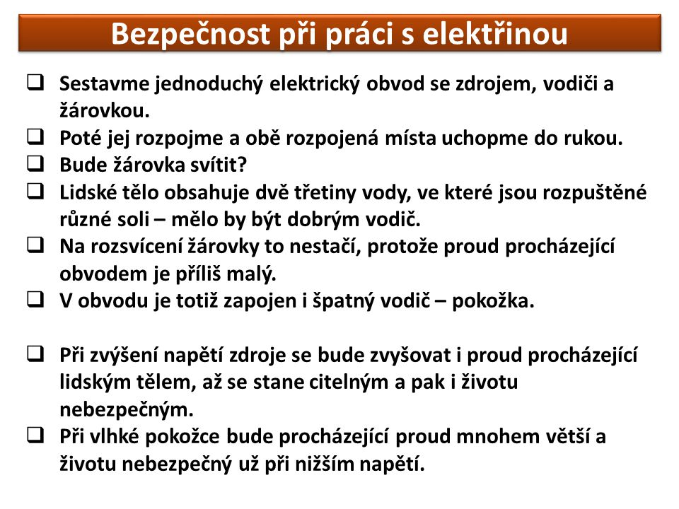 Bezpečnost při práci s elektřinou