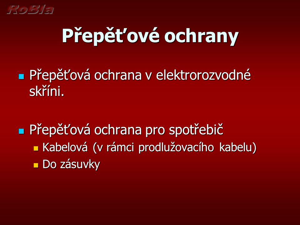 Přepěťové ochrany Přepěťová ochrana v elektrorozvodné skříni.